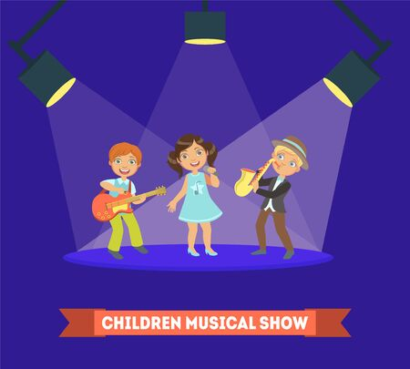 Children Musical Show Banner Template, Kids Performing on Stage, Boys and Girls Singing and Playing Music Instruments Vector Illustration, Web Design.