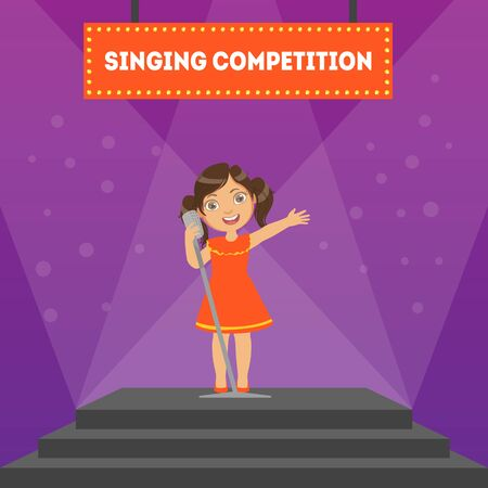 Singing Competition Banner Template, Girl Performing on Stage in Children Musical Show Vector Illustration, Web Design.