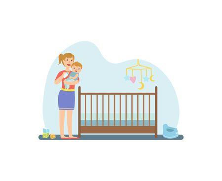 Mère nourrir son bébé avec une bouteille de lait, illustration vectorielle d'intérieur de pépinière, conception de sites Web. Vecteurs