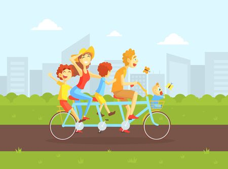 Happy Family Riding Tandem Bicycle, Father, Mother, Daughter and Son Cycling on Summer Landscape, Family Outdoor Activity Vector Illustration, Web Design.