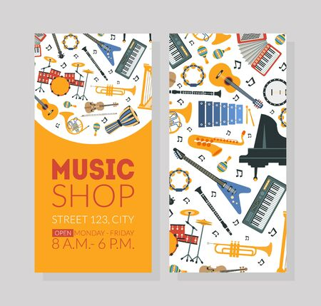 Music Shop Business Card Template with Musical Instruments and Space For Text Vector Illustration  イラスト・ベクター素材