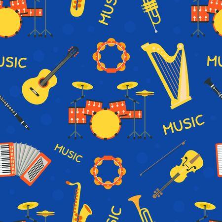 Musical instruments Seamless Pattern, Design Element Can Be Used for Textile, Wallpaper, Packaging, Background Vector Illustration on White Background. Ilustração