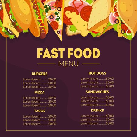 Fast Food Menu Template, Restaurant Brochure, Tako, Sandwiches, Hot Dogs, Burgers and Drinks List with Prices Vector Illustration, Web Design. Illustration
