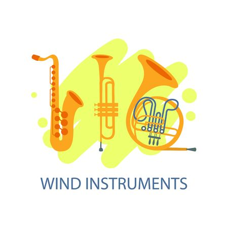 Wind Musical Instruments Banner, Music Festival, Live Concert Invitation Poster Vector Illustration Stock Illustratie