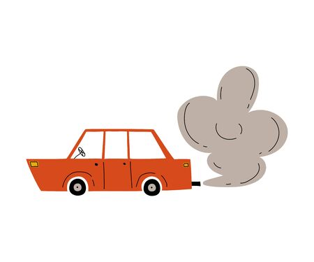 Red Car with Exhaust Smoke Cloud, Ecological Problem, Air Pollution Vector Illustration Çizim