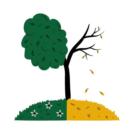 Deforestation, Destruction of Wood, Ecological Problem, Environmental Pollution By Chemicals and Industry Waste illustration Vector Illustration