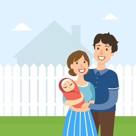 Young Happy Family with Newborn Baby Standing Outside in Front of Fence and House Vector Illustration, Web Design.