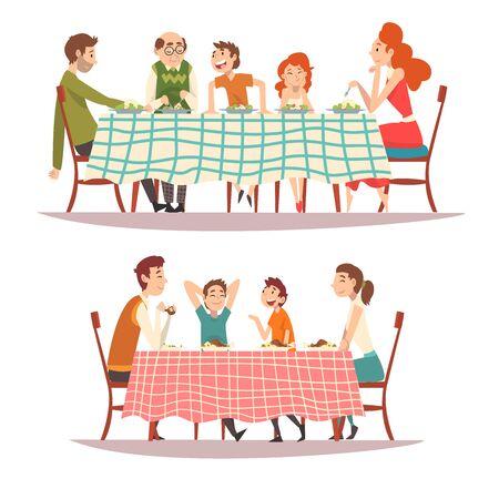 Famiglie felici che si siedono al tavolo della cucina con set di tovaglia a scacchi, mangiare cibo e parlare tra loro, genitori felici e bambini che mangiano insieme illustrazione vettoriale su sfondo bianco. Vettoriali