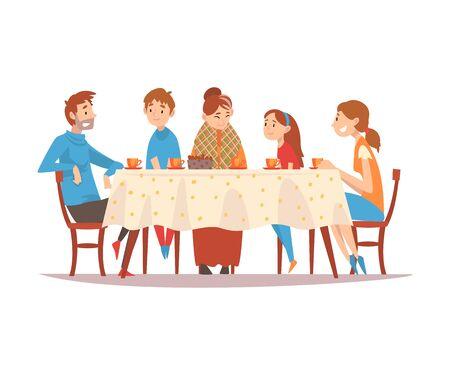 Familie, die am Küchentisch sitzt, Tee trinkt und miteinander spricht, glückliche Eltern, Großmutter und Kinder, die zusammen Vektorillustration auf weißem Hintergrund essen.
