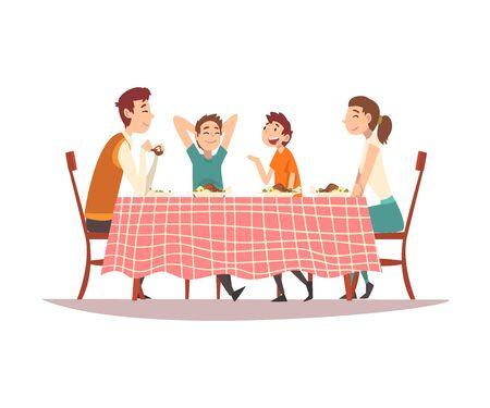 Familie sitzt am Küchentisch mit rot karierter Tischdecke, glückliche Eltern und Kinder, die miteinander essen und sprechen Vector Illustration auf weißem Hintergrund.