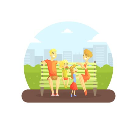 Happy Family Sitting on Bench in Urban Park, Cheerful Mother, Father, Daughter And Son Having Fun on Nature Vector Illustration, Web Design. Vektorové ilustrace