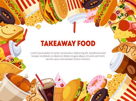 Takeaway Food Banner Template with Delicious Fast Food Dishes, Restaurant, Cafe Design Element, Poster, Invitation, Voucher, Flyer, Coupon Vector Illustration, Web Design.