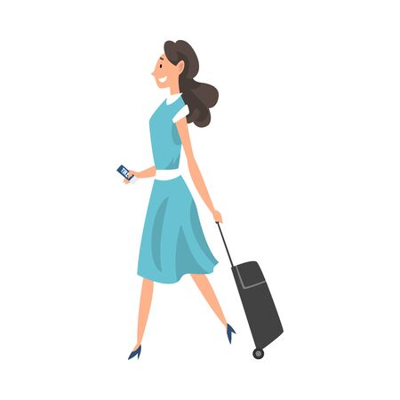 Young Brunette Woman Walking with Suitcase on Wheels and Tickets at Airport Vector Illustration on White Background.