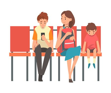 Family Waiting at Airport Terminal for Flight, Mother with Two Sons Sitting on Chairs at Waiting Room Vector Illustration on White Background.  イラスト・ベクター素材