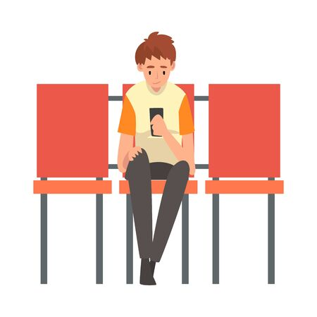 Teen Boy Waiting at Airport Terminal for Flight, Boy Sitting on Chair with Smartphone at Waiting Room Vector Illustration on White Background.  イラスト・ベクター素材