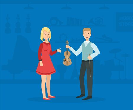 Young Man Choosing and Buying Guitar in Music Store, Female Shop Assistant Selling Musical Instruments Vector Illustration, Web Design.