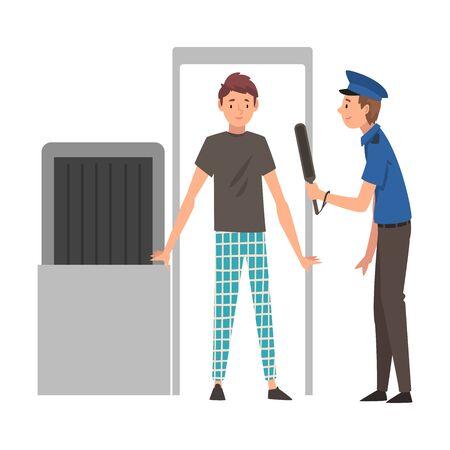 Hombre pasando por el escáner de seguridad para comprobar en la ilustración de Vector de aeropuerto