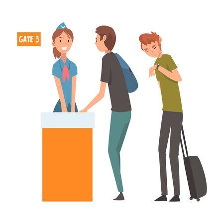 Personas de pie en la cola con maletas para comprobar en el aeropuerto para la ilustración de Vector de registro sobre fondo blanco.