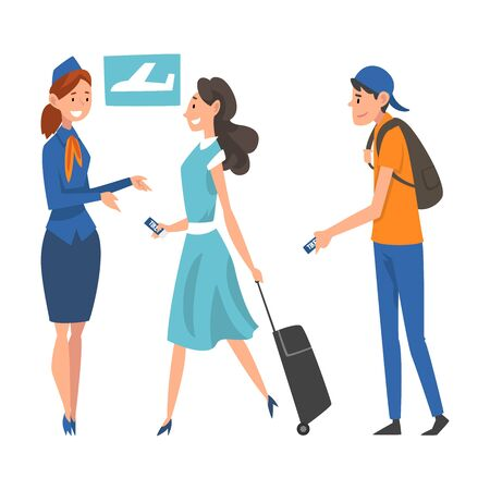 Passengers in Queue Waiting Check at Airport, Airline Representative Checking Ticket Documents Vector Illustration on White Background.