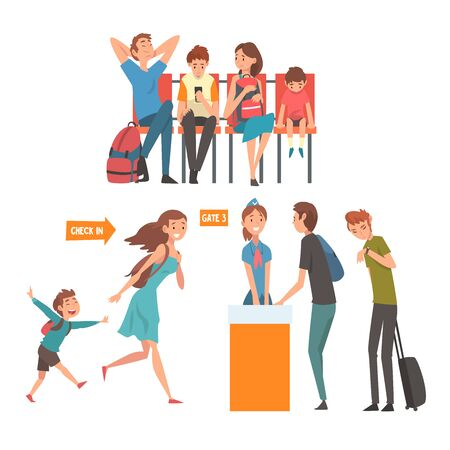 Reisende im Flughafen-Set, Passagiere, die auf den Flug am Terminal warten und am Registrierungsschalter stehen Vector Illustration auf weißem Hintergrund. Vektorgrafik