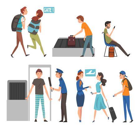 Personas en el aeropuerto, pasajeros que pasan por el escáner de seguridad, que esperan el control para el registro y que corren con sus mochilas para atrapar el vuelo ilustración vectorial