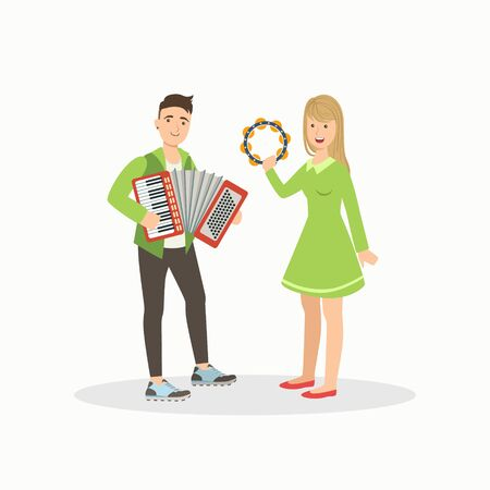 Man and Woman Playing Accordion and Tambourine, People Performing at Concert or Music Festival Vector Illustration on White Background.