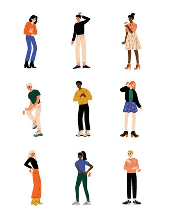 People Feeling Pain in Different Parts of Body Caused By Illness or Injury Set, Toothache, Headache, Stomachache, Backache, Pain in Arms, Legs, Shoulder and Chest Vector Illustration on White Background. Illustration