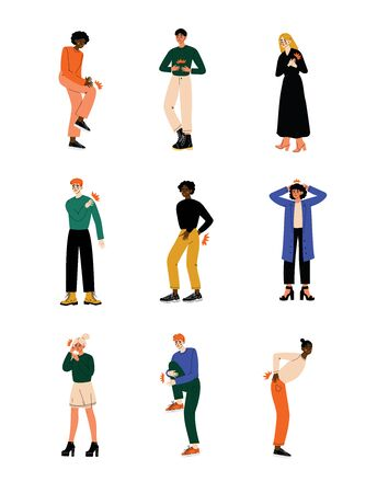 Different People Feeling Pain in Different Parts of Body Caused By Illness or Injury Set, Toothache, Headache, Backache, Pain in Arms, Legs, Shoulder and Chest Vector Illustration on White Background. Illustration