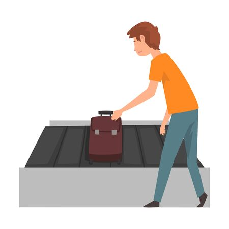 Young Man Picking Up His Suitcase on Luggage Conveyor Belt at Airport Vector Illustration on White Background.