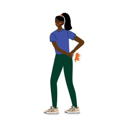Young African American Woman Suffering from Low Back Pain Caused By Illness or Injury Vector Illustration on White Background.