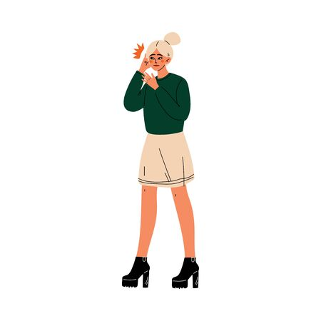 Young Woman Holding Hands on Her Ear, Toothache or Headache, Girl Feeling Pain in Body Caused By Illness or Injury Vector Illustration on White Background.