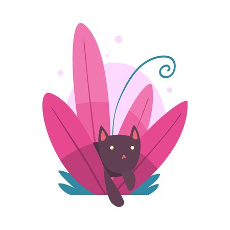 Cute Funny Cat Hiding and Peeking Out of Colorful Dense Grass Vector Illustration on White Background. Illustration