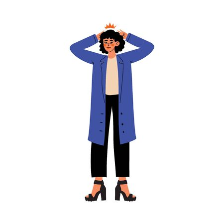 Young Woman Holding Hands on Her Head, Migraine, Headache, Girl Feeling Pain in Her Body Caused By Illness or Injury Vector Illustration on White Background. Illustration