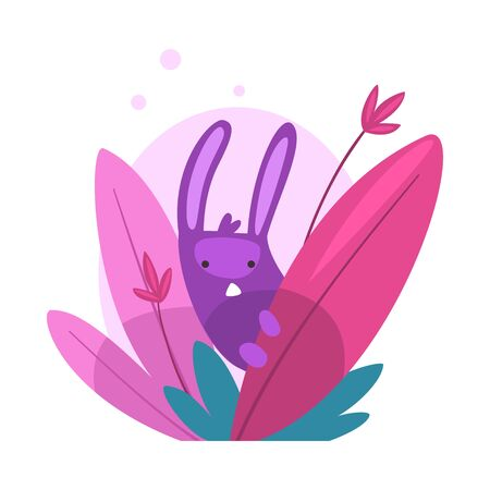 Cute Funny Bunny Hiding and Peeking Out of Colorful Dense Grass Vector Illustration on White Background.  イラスト・ベクター素材