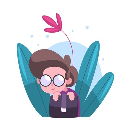Cute Little Boy in Glasses Hiding in Bushes, Adorable Kid Peeking Out of Dense Grass Vector Illustration on White Background.