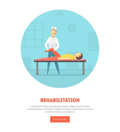 Rehabilitation Landing Page, Physiotherapy, Physical Medicine, Massage Banner, Orthopedic Exercises for People after Injuries Vector Illustration, Web Design. Stock Illustratie