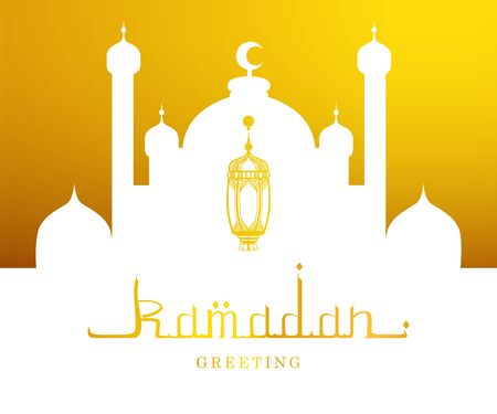 Ramadan Kareem Greeting Card, Arabic Calligraphy and Mosque Silhouette Vector Illustration