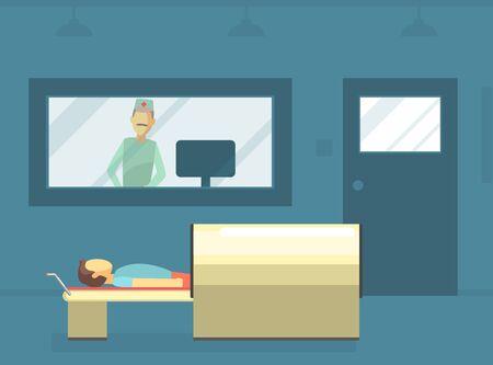 Doctor escaneando paciente masculino con máquina de escáner en clínica médica, exploración de resonancia magnética y diagnóstico ilustración vectorial, diseño web.