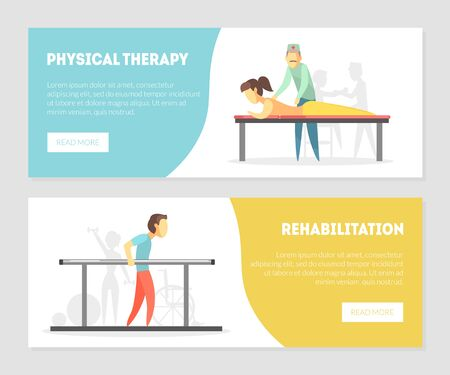 Physical Therapy, Rehabilitation Landing Page, Physiotherapy Horizontal Banners Set, Physical Training and Rehabilitation Exercises, Massage Vector Illustration, Web Design.