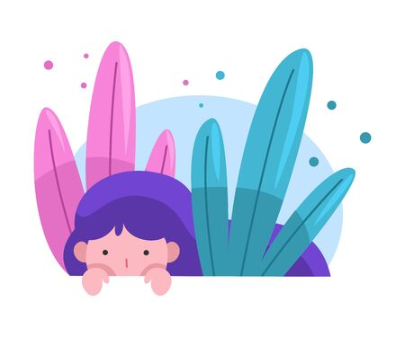 Cute Adorable Girl Hiding Peeking Out of Grass, Bright Imaginary World Vector Illustration on White Background.