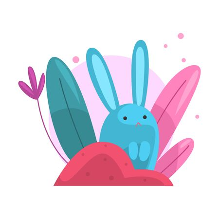 Cute Adorable Bunny Hiding and Peeking Out of Colorful Dense Grass Vector Illustration on White Background.