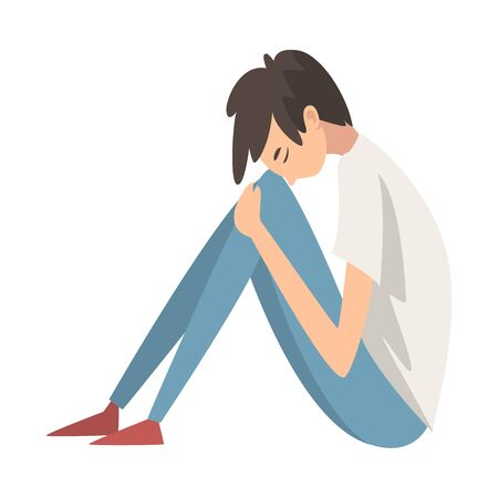 Depressed Boy Sitting on Floor Hugging His Knees, Stressed Teenager, Lonely, Anxious, Abused Boy Having Problems Vector Illustration on White Background.
