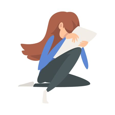 Unhappy Crying Girl Sitting on Floor with Letter, Lonely Broken Hearted Teenager Vector Illustration on White Background.