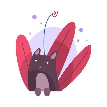 Lindo gato escondido y asomándose a la ilustración de vector de hierba brillante Ilustración de vector