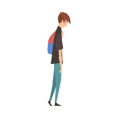 Unhappy Sad Guy Standing with Backpack, Depressed Teenager Having Problems, Stressed Student Vector Illustration Illusztráció