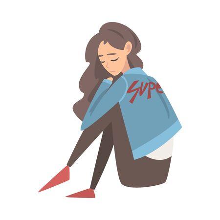 Nieszczęśliwa smutna dziewczyna siedzi na podłodze, przygnębiony nastolatek mający problemy, widok z przodu ilustracja wektorowa