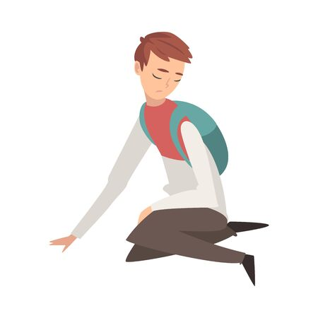 Unhappy Sad Boy Sitting on Floor, Depressed, Lonely, Anxious, Abused Teenager Having Problems, Stressed Student with Backpack Vector Illustration Stock Illustratie