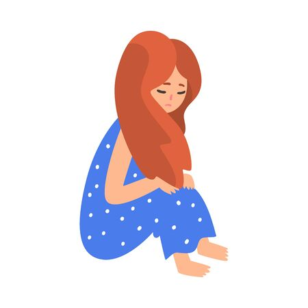 Depressed Girl Sitting on Floor Hugging Her Knees, Unhappy Teenager, Lonely, Anxious, Abused Girl Vector Illustration