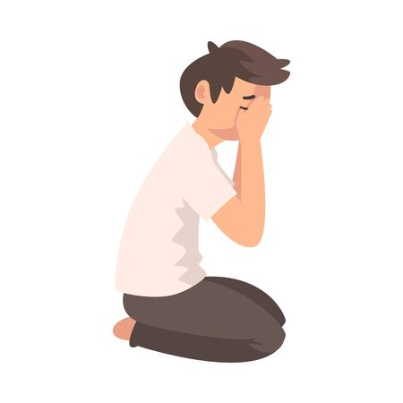 Unhappy Sad Boy Sitting on Floor and Closed Face by Hands, Depressed Teenager Having Problems Vector Illustration
