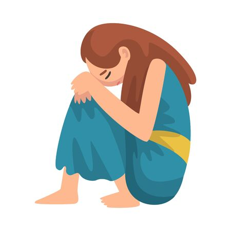 Depressed Girl Sitting on Floor Hugging Her Knees, Unhappy Stressed Teenager, Lonely, Anxious, Abused Girl Vector Illustration